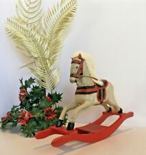 Handcrafted Wooden Christmas Rocking Horse Red Base Primitive Decor 11x7""