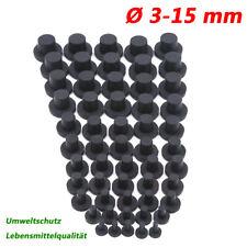 Ø 3-15 mm Gummistopfen Blindstopfen Gummi Verschlussstopfen Endstopfen Schwarz