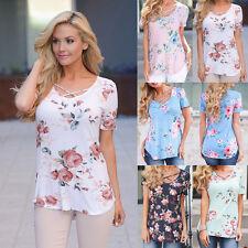 Women's Summer Cross V-Neck Short Sleeve Floral Tee Blouse T-Shirt Casual Tops
