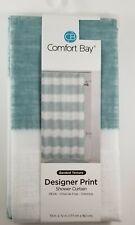 "Comfort Bay Designer Print Shower Curtain Green White Stripe 70"" x 72"" NEW"