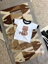 Vtg 80s Retro Black White Paper Thin Teddy Bear Ringer T Shirt 5-6 Hanes