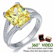 6 Ct Yellow Canary Lab Created Diamond 925 Sterling Silver Wedding Bridal Ring
