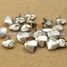 200pcs 12mm Silver Heart Rivet Spike Nickel Free Shipping Dropshipping