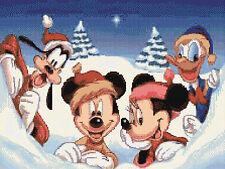 "Divertimento INVERNALE MICKEY & MINNIE contato CROSS STITCH KIT 16 ""X 12"" Disney, gratis P&P"