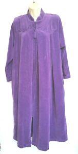 Cabernet Petites Womens Size PM Robe Housecoat Purple Half Zip Velvet Velour