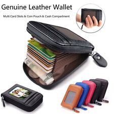 Womens & Mens Genuine Leather Wallet Credit ID Card Holder Zip Purse Coin Pouch