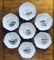 Set of 7 Antique William Guerin Limoges FRANCE Hand Painted Fish Plates C.1900