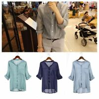 Women Retro Autumn Tops Linen Button Down Loose Casual Shirt Long Sleeve Blouse