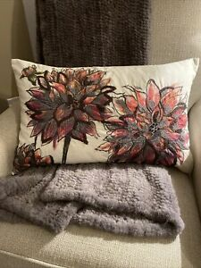 New Pottery Barn Dahlia Embroidered Lumbar Pillow Cover 16x26 Floral Warm RARE