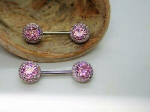 14K White Gold Over Pink Sapphire Piercing Nipple Rings,Barbell Jewelry 14 Gauge