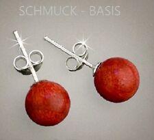 Schöne Ohrstecker Schaumkoralle; 925 Silber u. rote Koralle, 8 mm Kugeln, TOP!!!