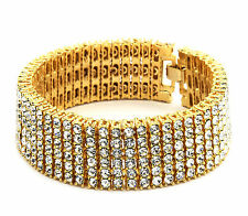 "Mens Gold Plated Clear Cz Stones 6 Rows Hip Hop Bracelet 8.5"" Inches"