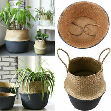 Seagrass Flower Belly Basket Storage Plant Woven Pot Laundry Bag Foldable Handle