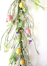 N125 Primitive Pip Berry Garland Spring Easter Eggs Vine in Pink, Yellow n Green