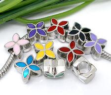50 Mix Silberfarbe European Emaille 4 Blatt Blumen Bead B04996