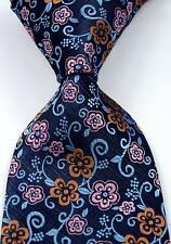 New Elegant Florals Blue Pink Brown JACQUARD WOVEN Silk Men's Tie Necktie
