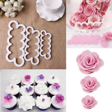 3Pcs/Set 3D Rose Flower Cookie Cutter Fondant Cake Decorating Baking Mould Tool
