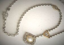 "Judith Ripka Designer 17"" Sterling Silver 18K Gold Roped Diamond Pearl Necklace"