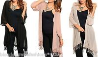 Tassel Fringe Trimmed Chiffon 3/4 Sleeve Open Front Tunic Cardigan/Cover-Up