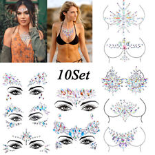 10 Set Body Adhesive Glitter Stickers Tattoo Face Gems Rhinestone Jewels Party