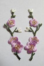 #3959 Lot 2Pcs Purple Quince,Sakura Flower Embroidery Iron On Applique Patch