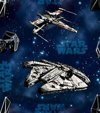 Star Wars Ships on Blue Cotton Fabric by the YARD