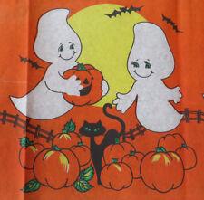 Nos Halloween Vtg Paper Table Cover 54x88 - Ghosts Pumpkins Black Cat Bat Décor
