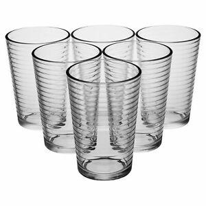 6 Drinking Loop Style Cup Water Juice Lemonade Dining Glasses Tumbler Dining Set
