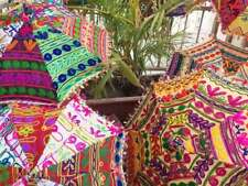 5 Pcs Wholesale Lot Embroidered Handmade Beautiful Parasols Home Garden Decor