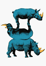 GILLIE AND MARC-direct from artists-authentic blue gold Rhino Art print
