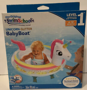 "Inflatable Baby Boat Unicorn Baby Pool Float 36"" 6-18 Months Swim School"
