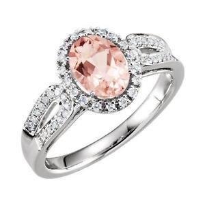 14K White Gold Morganite and 1/5 CTW Diamond Ring Size 7