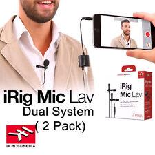 IK Multimedia iRIG Mic Lav Dual Lavalier Lapel Microphone iphone IOS Andriod