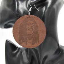 Wooden Drop/Dangle Oval Costume Earrings