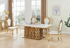 ELEGANT STUNNING MAGESTRO GOLD DINING TABLE NEW WITH MARBLE TOP & 8 CHAIRS