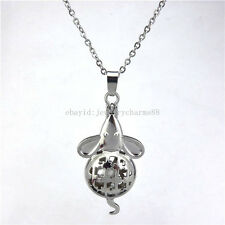 """K115 Silver Magnetic Mouse Rats Pearl Cage Locket Necklace Stainless Chain 18"""""""
