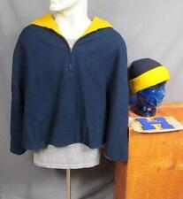 Vintage 1960s Drill Team Band Wool Hooded Mantle Coat w/ Knit Cap Varsity Letter