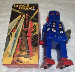 SPARKY ROBOT SPACE TOY MECHANICAL WINDUP TIN TOY BLUE - FREE SHIPPING