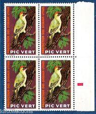 Vignette expérimentale oiseau Pic vert ref :PV 6 en bloc de 4 **