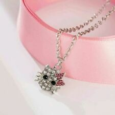 Womens Fashion Hello Kitty Crystal Rhinestone Pendant Necklace