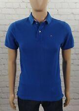 Polo Tommy Hilfiger uomo S maglietta blu t shirt in cotone a manica corta usata