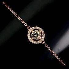 Unheated Round Morganite Cz 14K Rose Gold Plate 925 Sterling Silver Bracelet 8