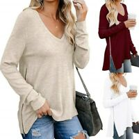 Summer Women T Shirt V-Neck Casual Blouse Long Sleeve Plain Tops Loose Pullover