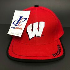 Vintage Wisconsin Badgers College Snapback Hat Red Cap Wool Deadstock Streetwear