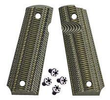 1911 Full Size G10 Grips BlackGreen Gk8 + Dots Torx grip screws - 1911 grips