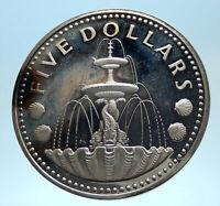 1974 BARBADOS Proof Arms Fountain Trafalgar Genuine Silver 5 Dollars Coin i77447