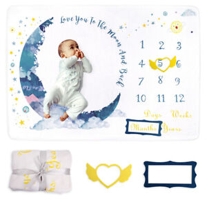Newbron Baby Milestone Blanket Star Moon Photo Background Growth Memory Large