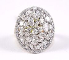 Fine Round Princess & Marquise Cluster Diamond Ring 14k Rose Gold 3.46Ct