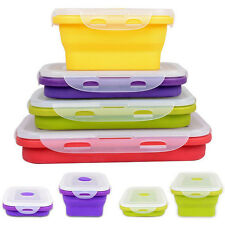 4 Silicone Eco Collapsible Lunch Box Portable Folding Food Storage Container New