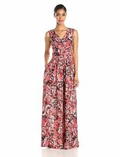 $158 Marc New York By Andrew Marc Sleeveless Cowl-neck Printed Maxi Dress.SZ:10